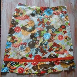 Boho, Retro, Abstract Asian-Inspired Floral Skirt
